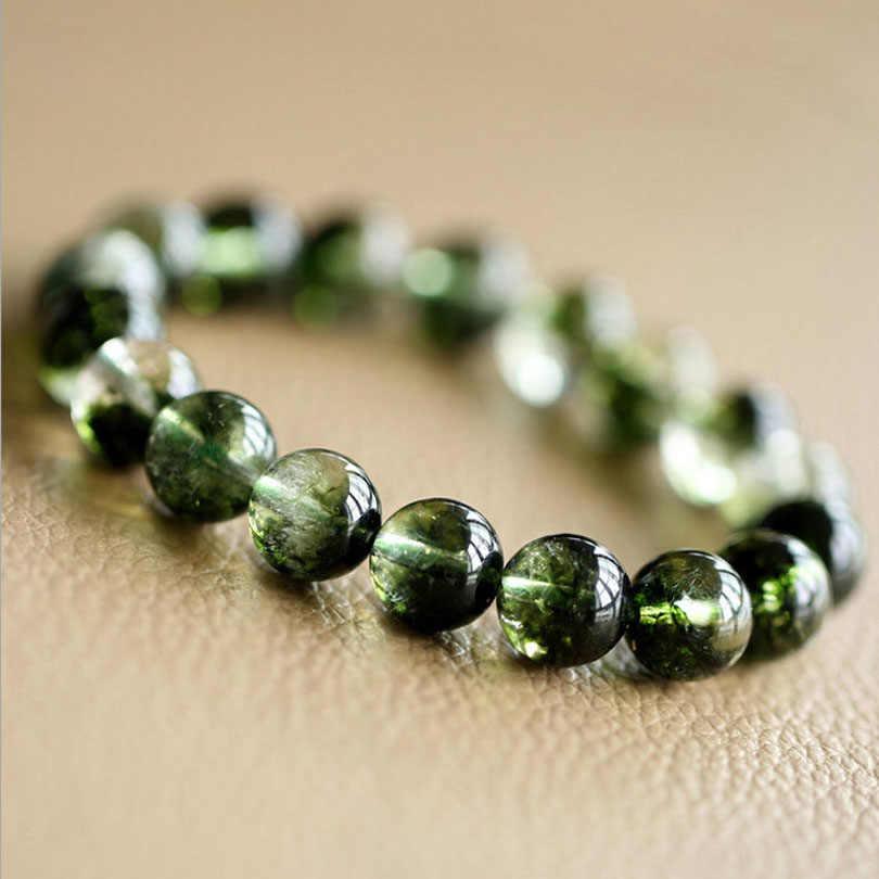AAA Натуральный оливин камень хризолит Браслеты 6 мм 8 мм 10 мм 12 мм полудрагоценный камень кварц кристаллы аметиста тигровый глаз для ювелирных украшений