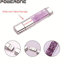 POWERONE fashion Crystal metal USB flash Drive pen drive 4GB 8GB 16GB 32GB 64GB memory stick gifts(Order over 10pcs,free logo(China)