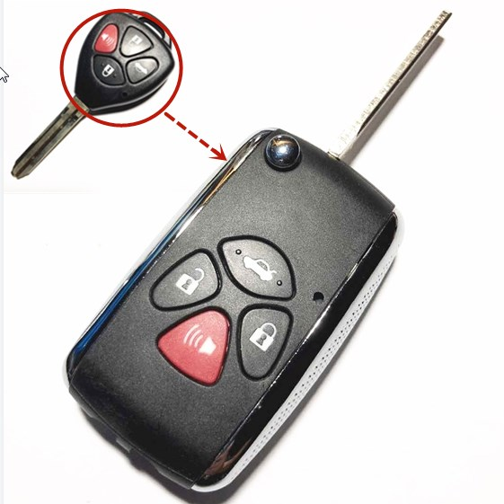4 Buttons Uncut Blade Remote Key Fob Shell Case Cover for Toyota Camry 2007-2010