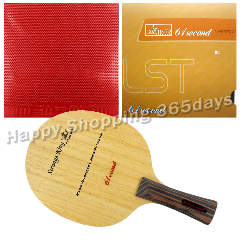 цена на Original Pro Table Tennis Combo Racket 61second Strange King with Lightning DS LST and Dawei 388D-1 Long shakehand FL