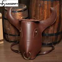 Оригинальный винтажный ручной работы из натуральной кожи мужской рюкзак Crazy Horse кожаный рюкзак мужской бычья голова тотемные сумки