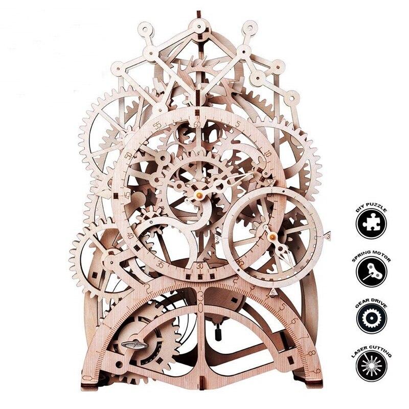 Robotime juguete 4 tipos DIY creativo de láser de corte de 3D modelo mecánico juego de rompecabezas de madera asamblea de peluche de juguete de regalo para niños adolescentes adultos LK