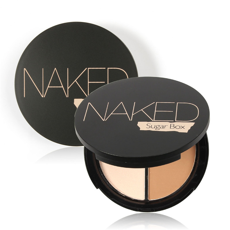 Sugar Box Makeup Face Highlighter & Bronzer Press Powder 1 pcs Two-color Highlight and Contour Palette Easy to Wear