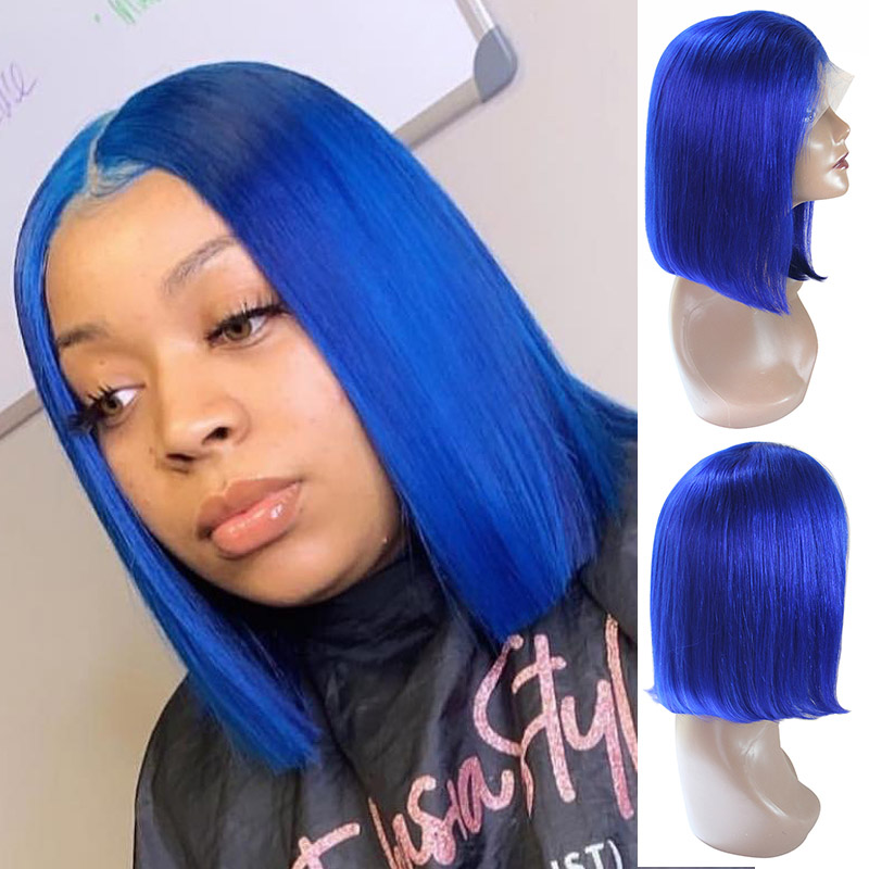 HTB1k0eNbbH1gK0jSZFwq6A7aXXaX 13x6 Blue Bob Lace Front Human Hair Wigs Pre Plucked 613 Honey Blonde Purple Green Burgundy Yellow Ombre Colored Human Hair Wigs