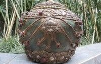 Tibet zanaatkar made Yeşil Taş kakma Gümüş Ejderha Garuda Kafa Güveç Vazo