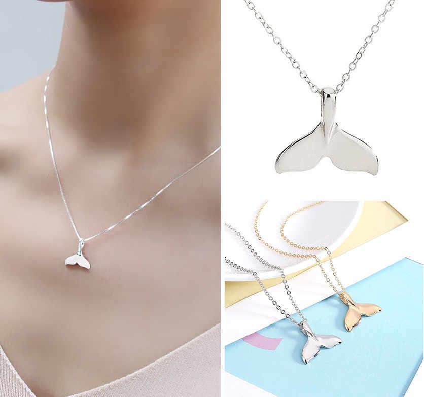 Retro Perempuan Rantai Kalung Whale Ekor Ikan Laut Pesona Ekor Putri Duyung Liontin Kalung Perhiasan