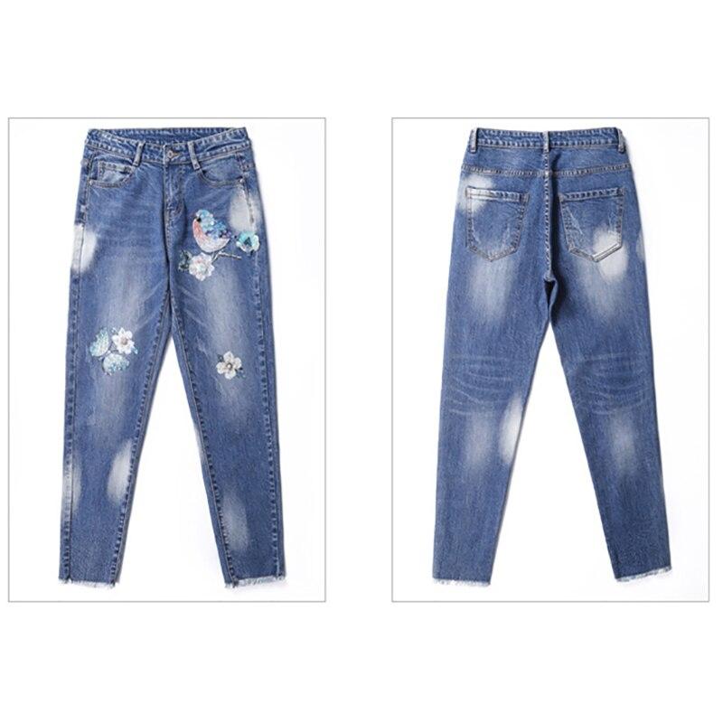 Harem Suelta Azul 2018 Vaqueros Blue Mujer Longitud Las De Cintura Otoño Casuales Pantalones Tobillo Medio Denim Bmbroidery La Mujeres Flor wf6PFq