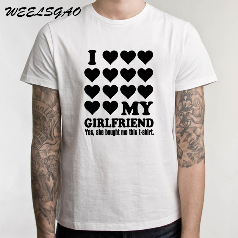 eed719bb90 WEELSGAO I LOVE MY GIRLFRIEND Letters Print Men T Shirt Casual Funny Tshirts  for Man Top Tee Hipster-in T-Shirts from Men's Clothing on Aliexpress.com  ...