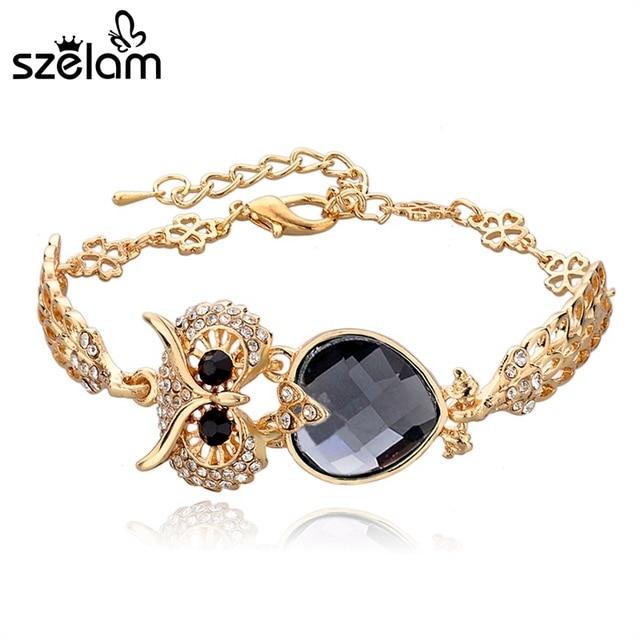 a4591e23c5e7 Szelam Vintage Gold Jewelry Charm Owl Bracelets For Women 2019 New Crystal  Rhinestone Bracelets   Bangles Female SBR140208