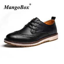 British Style Man Casual Shoes Black Brown Martin Autumn Winter Brogues Rubber Sole PU Leather Classic Footwear