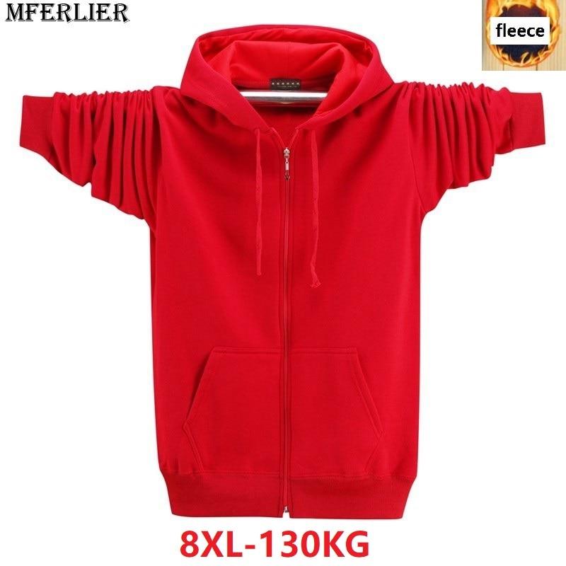 large size big men Hoodies Sweatshirts 8XL fleece warm 6XL 7XL jackets zipper autumn winter hooded Sweatshirts for men black red