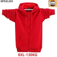 large size big men Hoodies Sweatshirts 8XL fleece warm 6XL 7XL jackets zipper autumn winter hooded Sweatshirts for men black red