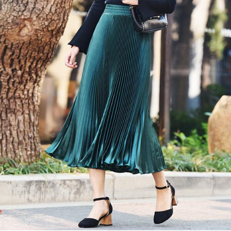 long skirts Women Girls skirt Satin accordion pleated new metal pleated skirt wild color high waist big swing