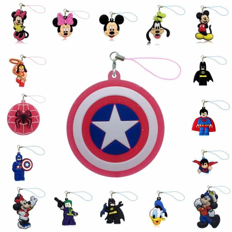 1 pcs Mickey Saco Vingador Superhero Peças & Acessórios Charme Tiras Saco Minnie Dos Desenhos Animados DO PVC DIY Decoração Telefone Strps Crianças presente