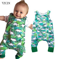 TZCZX 6020 New Summer Children Baby Rompers Novelty Dinosaur Printed Sleeveless Jumpsuit For 6 To 18