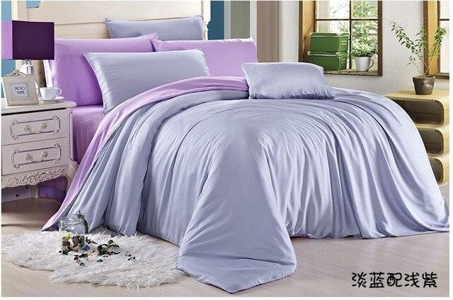 luxury light blue purple lilac bedding set queen duvet cover king size double bed spread sheets linen quilt doona 4pcs tencel