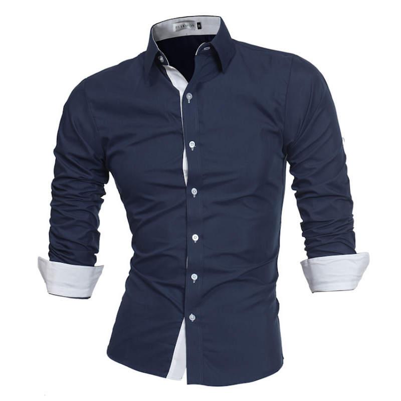 Men Shirt Brand 2019 Male High Quality Long Sleeve Shirts Casual Slim Fit Black Man Dress Shirts Plus Size M-4XL