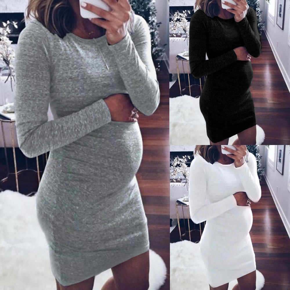 summer dresses casual Fashion Women Pregnants O-Neck Long Sleeve Nursing Baby For Maternity Dress abiye elbise #y3