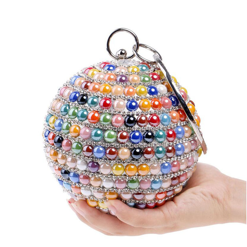 ФОТО New Design Rhinestones Chain Women Shoulder Bag With Handle Round Candy Color Beaded Day Clutches Evening Bag For Girls 2016