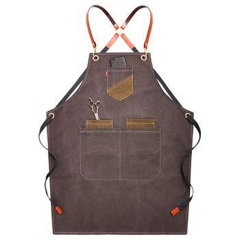 2019 Canvas Bibs Aprons For Women Leather BBQ Chef Home Kitchen Dress Barber Hairdres Cafe Cook Waiter Custom Logo Pinafore Gift