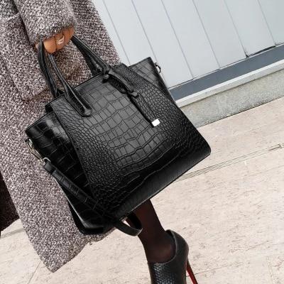 Fashion leather handbags women famous Large messenger shoulder bag crocodile top handle bags female sac a