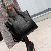 Fashion leather handbags women famous Large messenger shoulder bag crocodile top handle bags female sac a main femme de marque