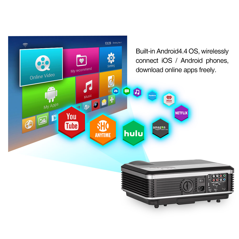 CAIWEI LED Android WIFI Projector HD Home Theater Backyard Movie ...