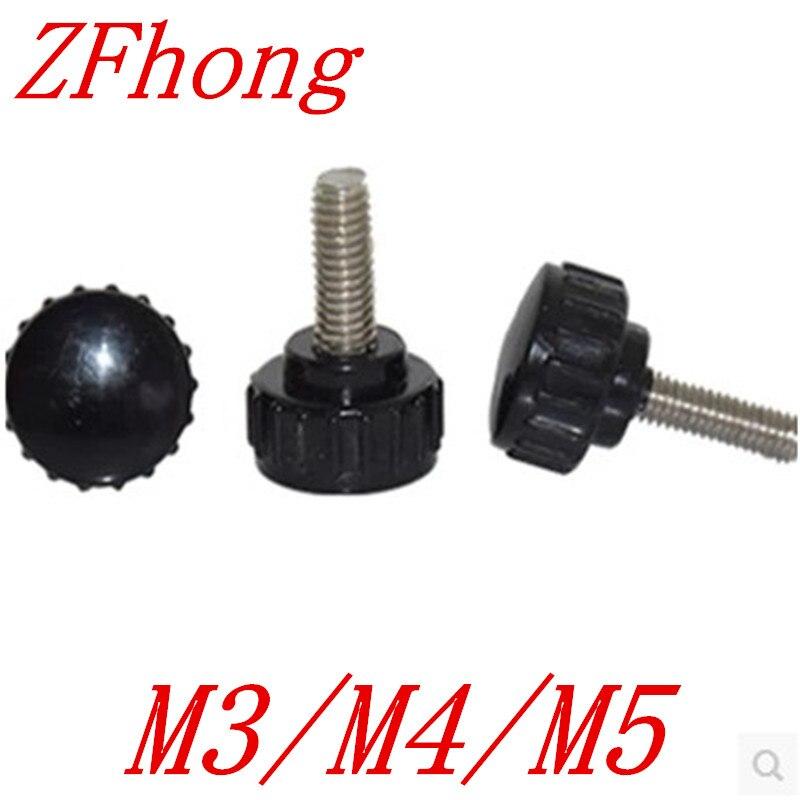 20pcs M3 M4 M5 15# Plastic Thumb Screw Knurled Knoba djusting hand screw накладки на ручки fulajimi m3 m5