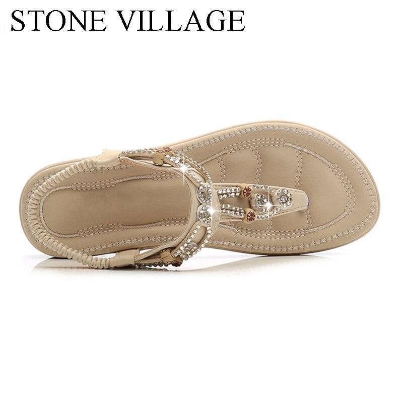 Women Sandals 2020 Flat Summer Women Sandals Crystal Bohemia Ethnic Flat Sandals Flip Flops Casual String Bead Beach Shoes Woman 4