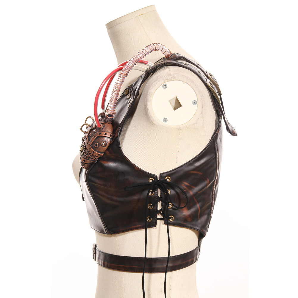 Steam Punk Cosplay Festive Party Party Shoulder Strap Leather Chest Strap with Armor 2