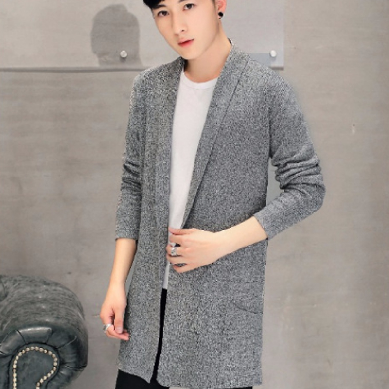2018 Black Long Sweaters Men Winter Brand Clothing V neck Cardigan Male Sweaters Pockets Men s