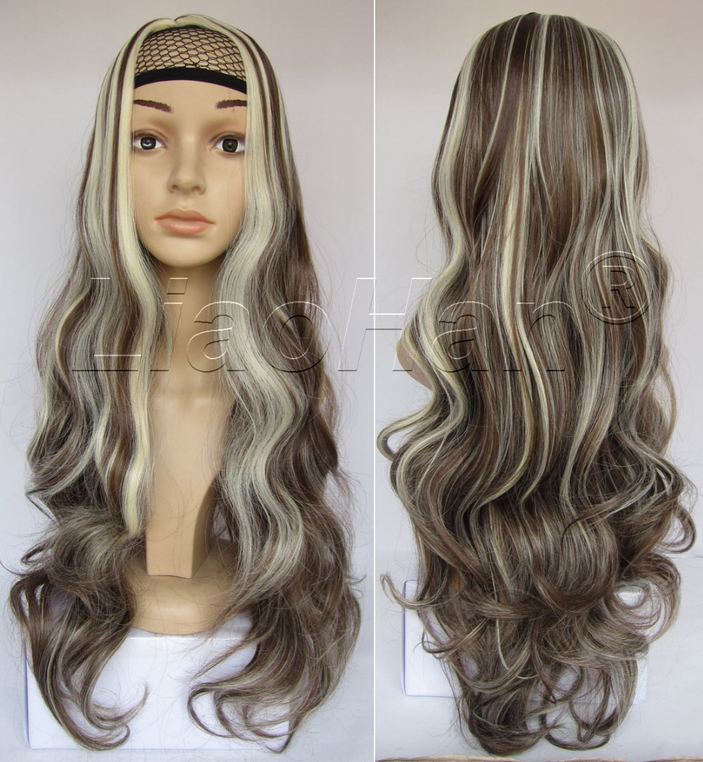 Long Loose Wavy Wig Full Head Highlight Hair Wig Synthetic Wigs for Women Brown & Blonde Wig on ...