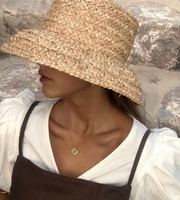 Americans retro flat topped drooping hat eaves hand woven Lafite Straw Hat Ladies outdoor sunshade sunscreen beach straw hat