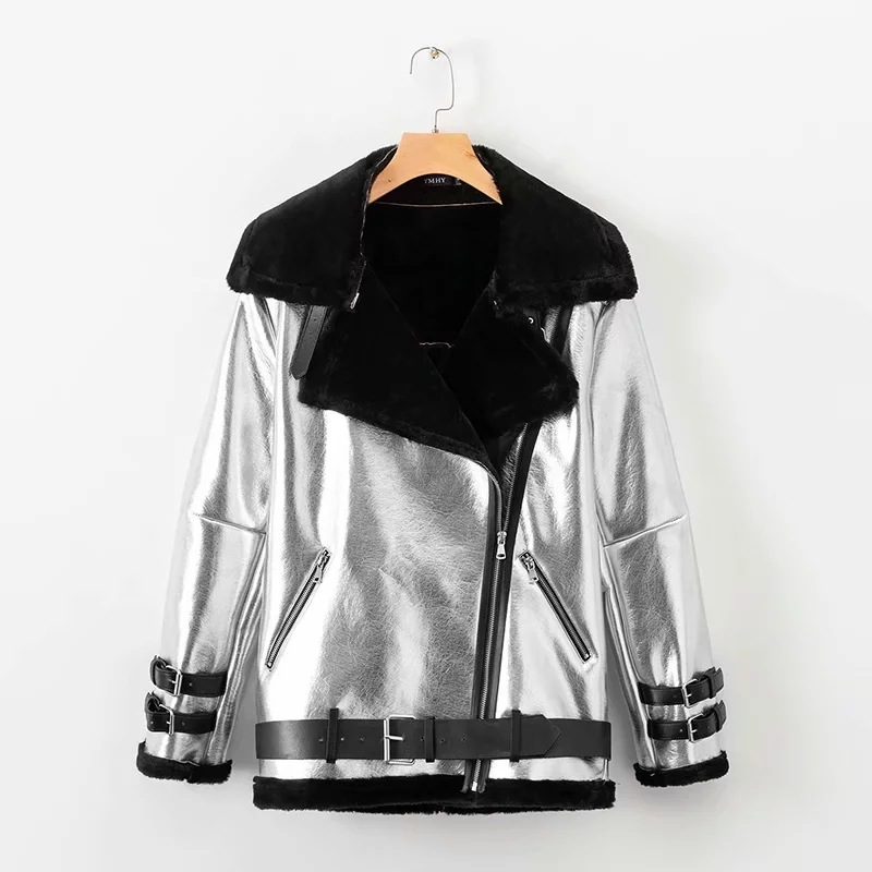 Thick   Parka   Silver Color Winter Leather Biker Jacket 2018 New Winter Casual Loose Long Sleeve Jacket Warm Outwear Fur Coat NS730