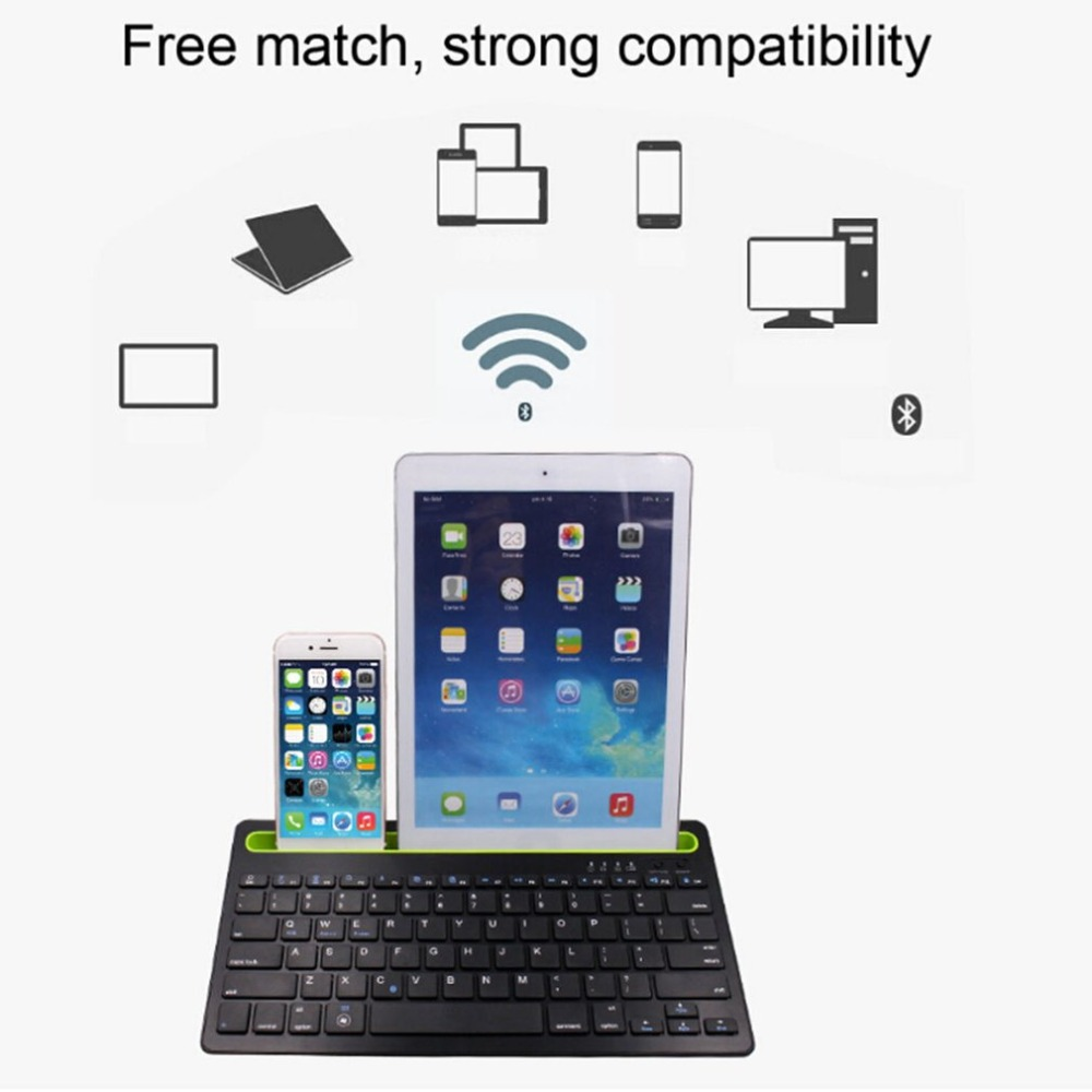 Ultra Thin Wireless Bluetooth Keyboard 85 Keys Rechargeable Universal Tablet Cellphone Keyboard For IOS Android For Windows PC