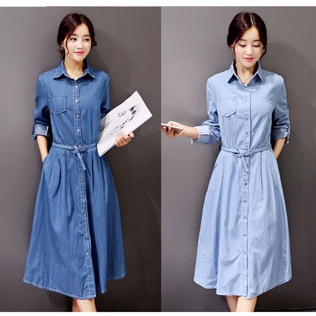 7fcec8e60521 Primavera Outono Mulheres Casual Solto Vestido Longo Denim Slim Fit Denim  Jean Vestidos Plus Size Cinto