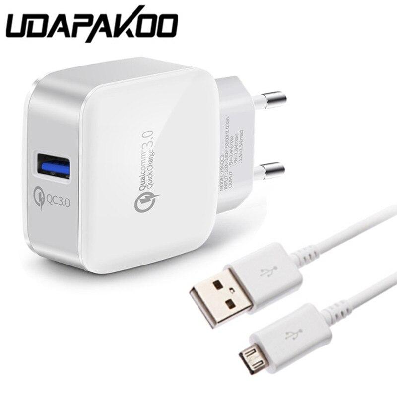 Udapakoo Micro USB быстро Зарядное устройство кабель для Samsung Galaxy S7 S6 Redmi LG <font><b>Doogee</b></font> телефон + Quick Charge 3.0 2.0 ЕС Подключите USB адаптер