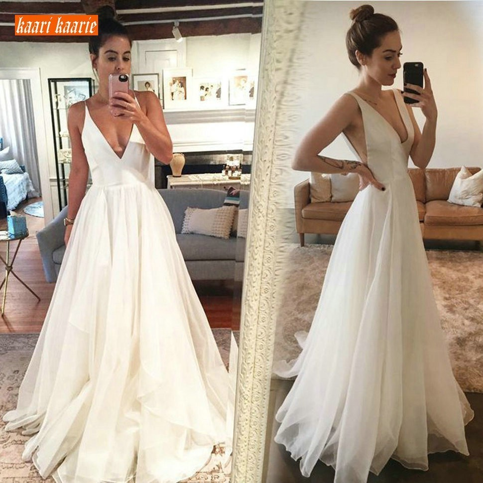 Charming White Wedding Gowns 2019 Sexy Ivory Wedding Dresses Long V Neck Organza Backless Floor Length