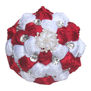 Image 5 - Burgundy White Silk Ribbon Rose Holding Flowers Artificial Foam Flowers Wedding Flowers Bridal Bouquets Bridesmaid Bouquet W291