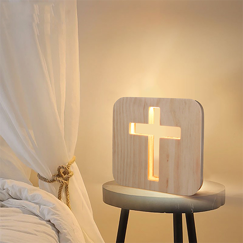 3D Wooden Cross Shadow LED Lamp Wood Night Light USB Desk Table Lamps Christianity Crucifix Crafts For Gift Home Decoration image