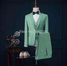 2017 Latest Coat Pant Designs Mint Green Men Suit Slim Fit 3 Piece Stylish Tuxedo Custom Groom Suits Prom Blazer Terno Masculino