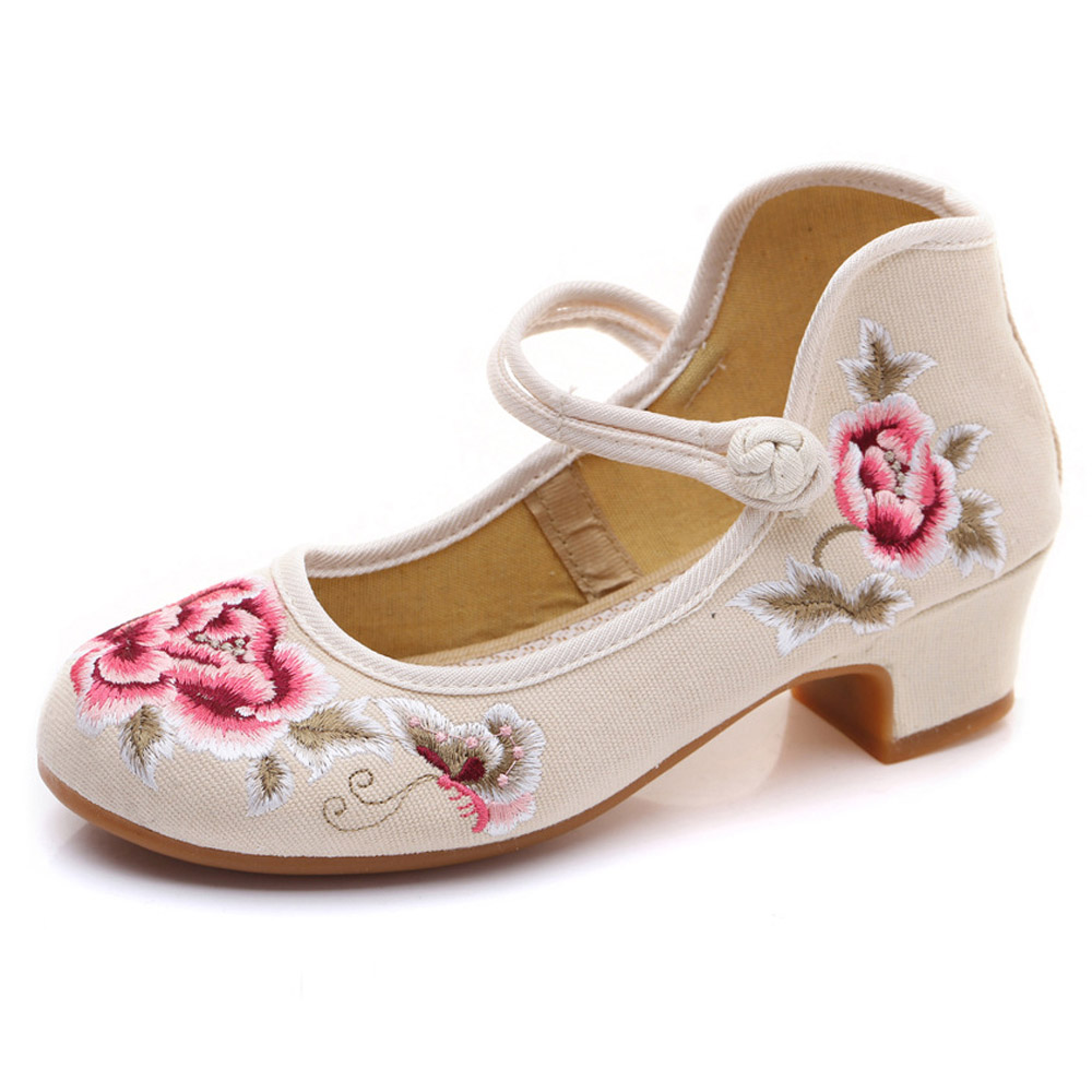 La Bas Fleur Confort Élégantes noir Brodé Chaussures De Bloc Chinois Pompes Talon bleu Cheville Coton rouge Beige Femmes Danse Dames À Toile Bride Cheongsam Fftfwz