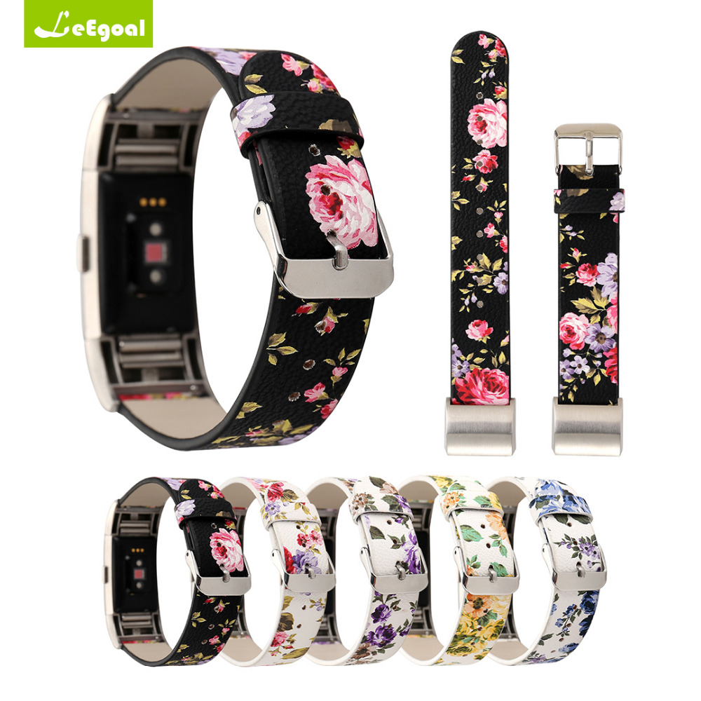 New Leather Wristband For Fitbit Charge 2 Pattern Leather Strap Replacement Watch Band For Fitbit Charge 2/Charge2 HR Bracelet
