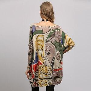 Image 3 - XIKOI, nuevo suéter para mujer, suéteres de manga larga de murciélago con estampado abstracto de gran tamaño, suéteres casuales de moda de punto con cuello redondo, ropa, suéter