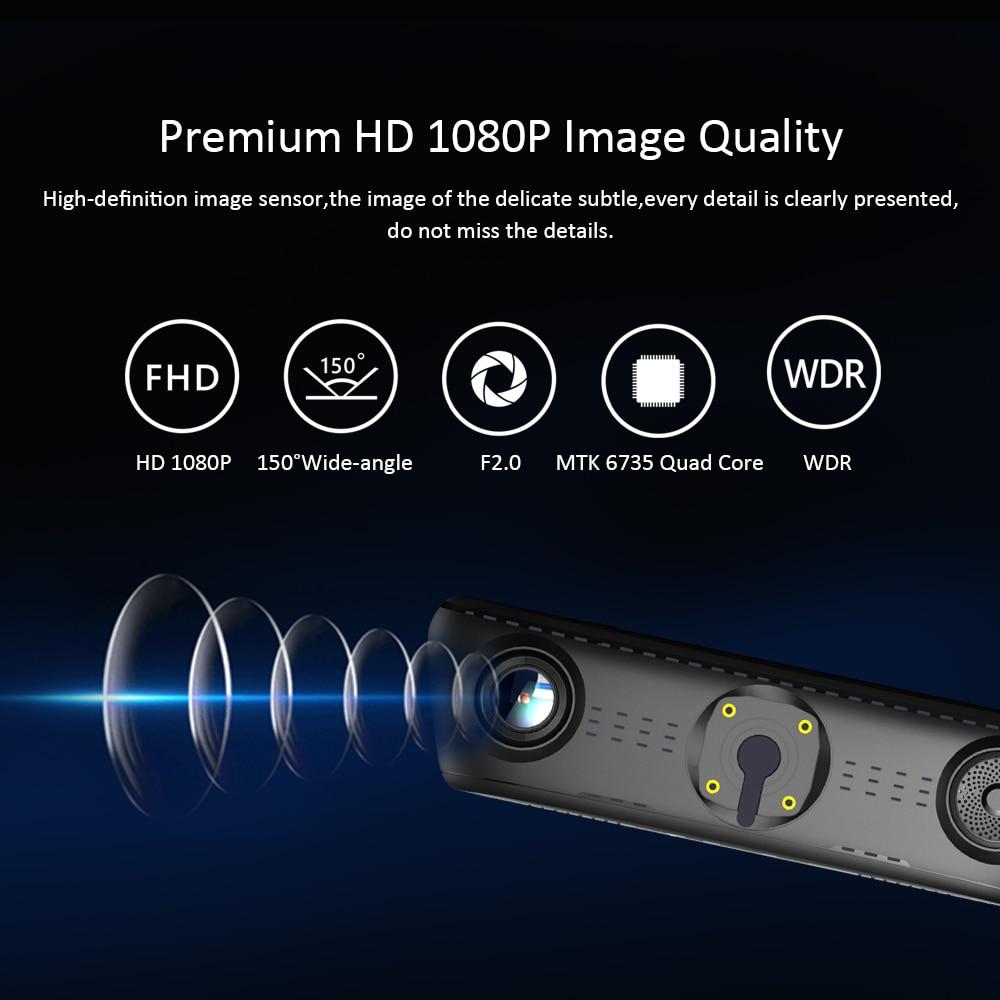 € 263 97 |Nueva 10 pulgadas espejo IPS Android 5,1 Sistema Inteligente MTK  6735 doble lente de vídeo grabador Dash Cam Cámara del coche FM música GPS