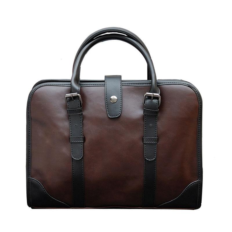 High Quality Crazy Horse Leather Men'S Handbags Business Men'S Messenger Shoulder Bags Laptop Handbags Male Bolsa Multifunction
