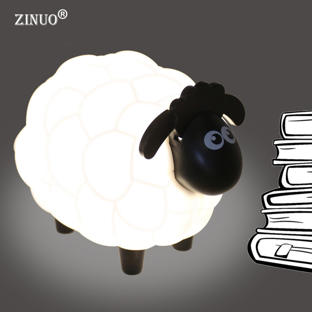 ZINUO Cartoon Sheep Led Night Light Children Bedroom Desk Lamp Protect Eye Lamp Best Gifts For Children USB Creative Night Lamp artpad creative cute cartoon umbrella style totoro night lamp usb port charged led bedroom light for kid boy girl desk lighting