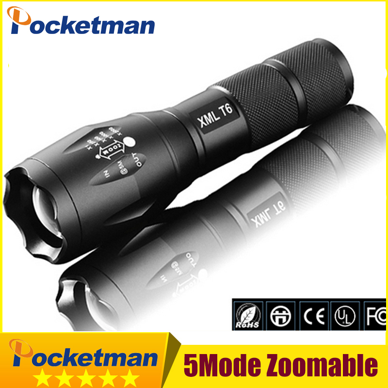 E17 Flashlight 6800Lumens cree led CREE XM-L T6 Torch Zoomable cree LED Torch light For 3xAAA or 1x18650 Camping Hiking 3000 lumens zoomable cree xm l t6 led tactical flashlight torch zoom lamp light waterproof led 5 modes for 1x18650 3xaaa