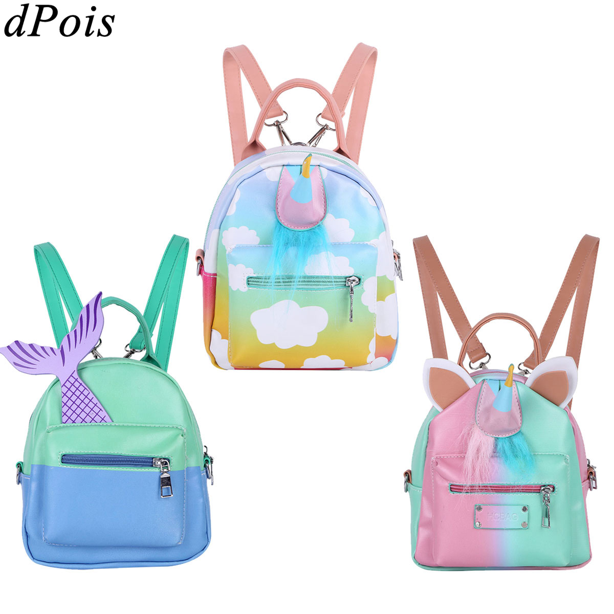 Kids Gym Bag Travel Bags Gilrs PU Leather Cute Cartoon Animal Horn Mini Backpacks Colorful Shoulder Bag Lovely Sports Bags