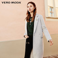 Vero Moda brand 2018 NEW embroidery letters straight 40% wool sexy female long jacket coat lapels | 317427513